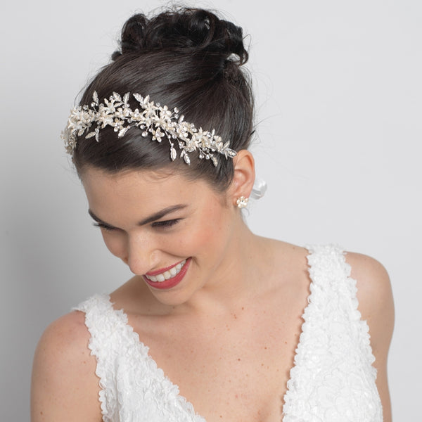 """The Rosemary"" Floral Vintage Vine Bridal Wedding Bun Wrap-Tiaras & Headbands-Wedding Factory-Sweet Heart Details"