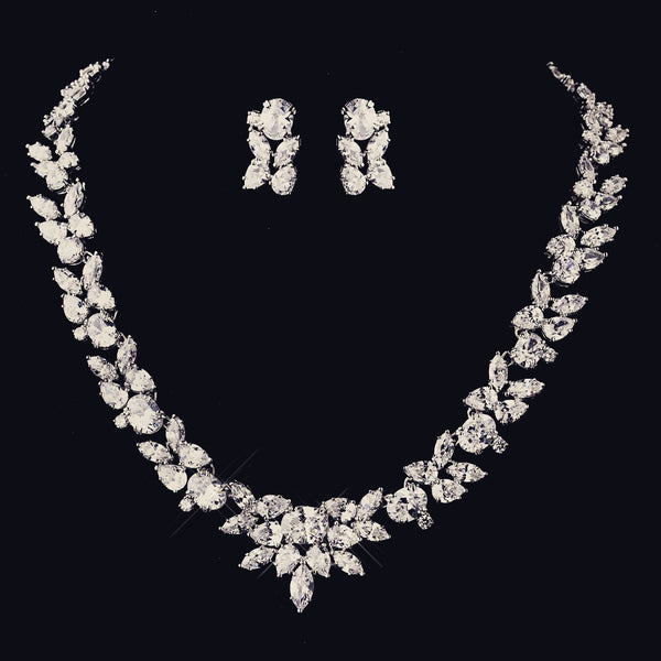 """The Rylee"" Dazzling CZ Marquise Leaf Design Set-Jewelry Sets-Wedding Factory-NE-8612-RD-CL-Sweet Heart Details"