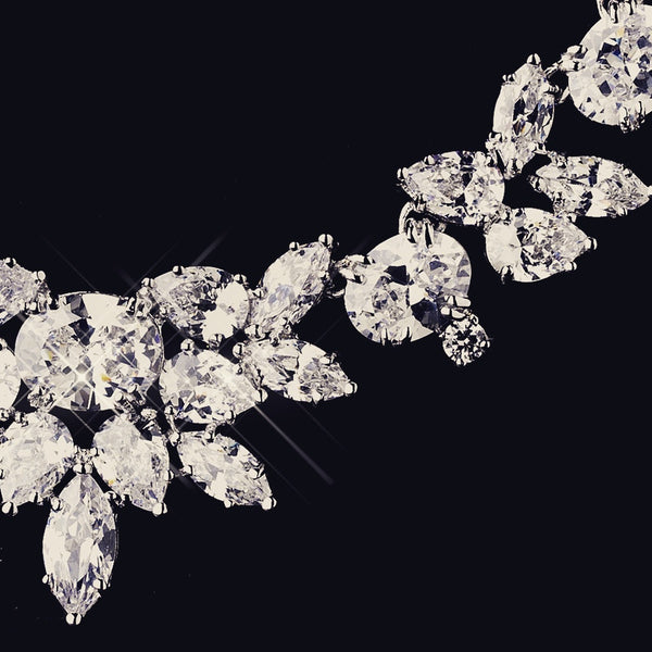 """The Rylee"" Dazzling CZ Marquise Leaf Design Set - Sweet Heart Details"