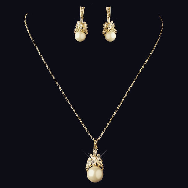 """The Sania"" CZ & Pearl Pendant Set (Silver/Gold)"