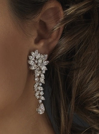 """The Haisley"" Cascading Crystal Earrings - Sweet Heart Details"