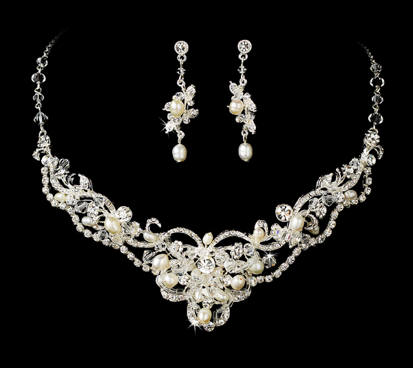 """The Liliana"" Silver Freshwater Pearl & Crystal Necklace & Earrings-Jewelry Sets-Wedding Factory-NE-7825-S-FW-Sweet Heart Details"