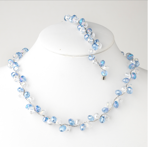 Austrian Crystal Necklace and Bracelet Set-Jewelry Sets-Wedding Factory-NB-7614-Blue-Sweet Heart Details