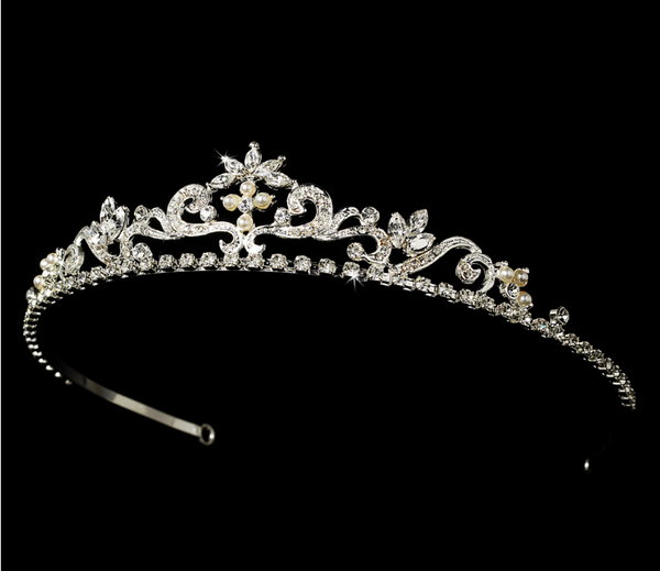 """The Sarah"" Crystal Bridal Tiara Headpiece (Silver or Gold)"