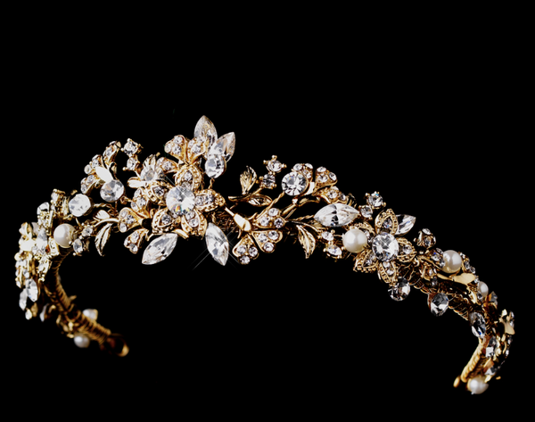 """The Jessica"" Gold Pearl & Crystal Tiara"