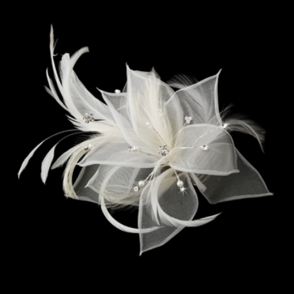 """The Michelle"" Flower Feather and Pearl Fascinator w/ Veil"
