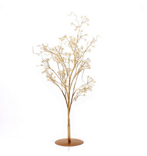 Pearl & Vintage Gold Wire Ornamental Trees - Sweet Heart Details