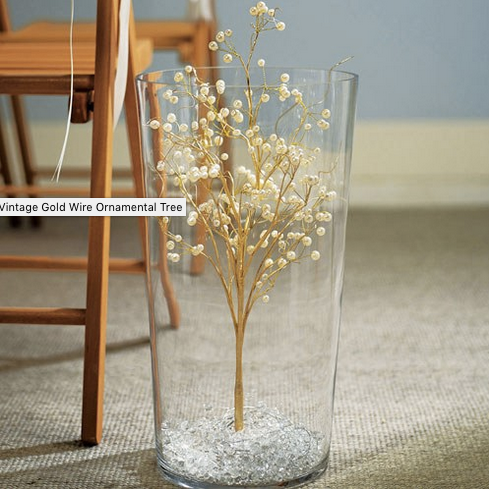 Pearl & Vintage Gold Wire Ornamental Trees-Table Top Items-Wedding Star-Sweet Heart Details