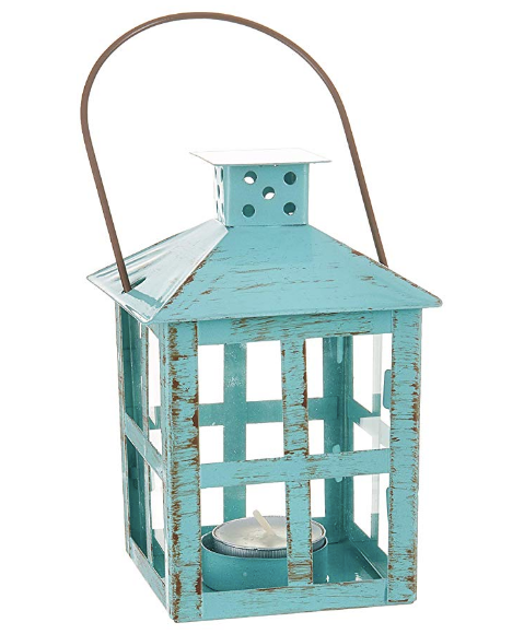 Vintage Blue Distressed Lanterns - Sweet Heart Details