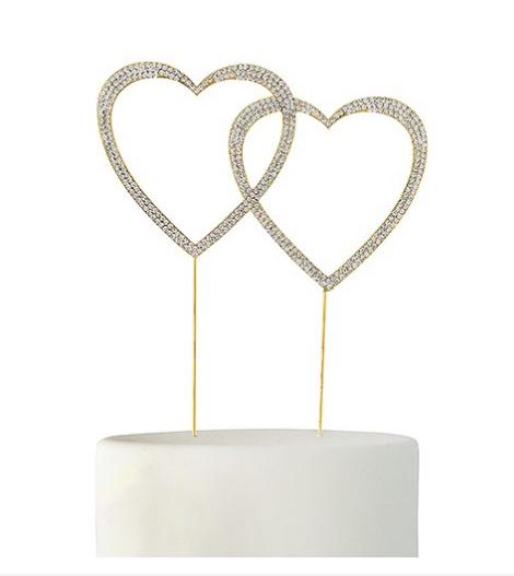 Gold Double Heart Crystal Rhinestone Cake Topper - Sweet Heart Details