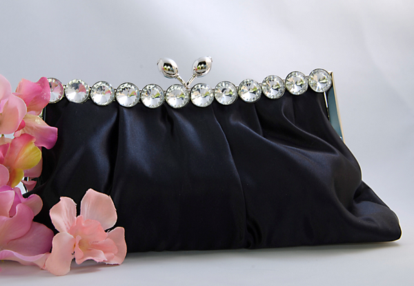 """The Clementine"" Satin Evening Bag (Black or White)-Bags-Wedding Factory-Sweet Heart Details"