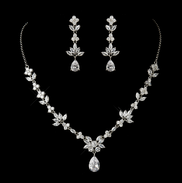 """The Colette"" Silver CZ Tear Drop Necklace and Earrings Set"