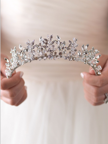 """The Rebecca"" Delicate Swarovski Crystal Crown - Sweet Heart Details"
