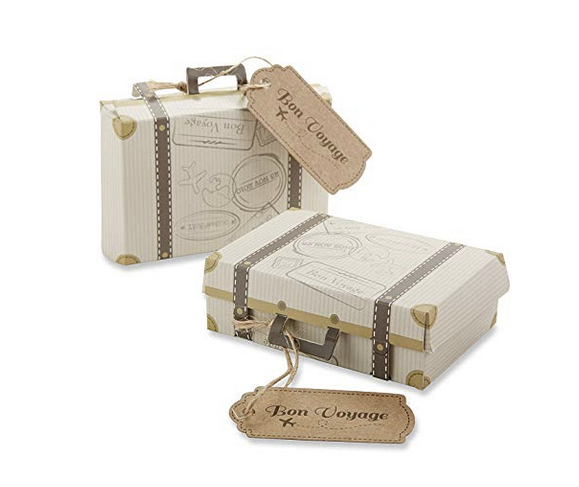 """Bon Voyage"" Vintage Suitcase Favor Box (96)"