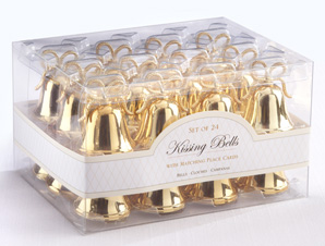 Gold Kissing Bells Place Card/Photo Holders-Placecard Holders-Kate Aspen-Sweet Heart Details