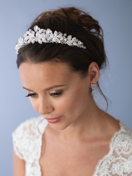 """The Andrea"" Spectacular Swarovski Crystal Tiara-Tiaras & Headbands-USA Bride-Sweet Heart Details"