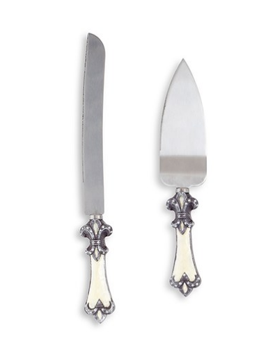 Wedding Cake Serving Set - Fleur De Lis Design - Sweet Heart Details