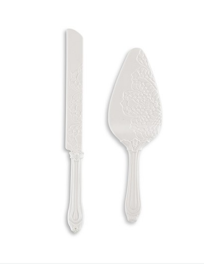Wedding Cake Serving Set - White Porcelain with Embossed Lace Details - Sweet Heart Details