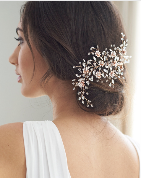 """The Blossom"" Bridal Hair Clip - Sweet Heart Details"