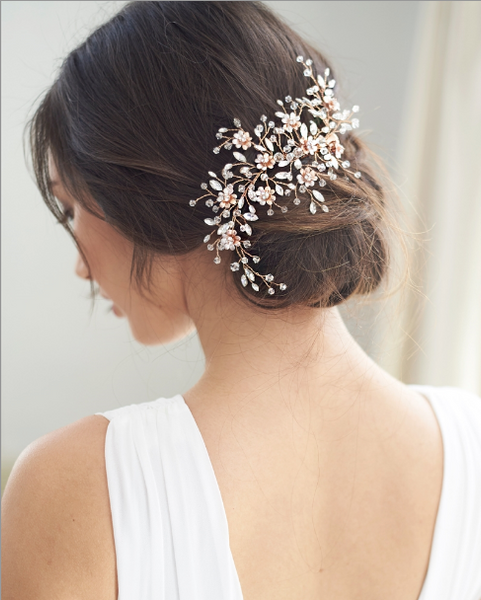 """The Blossom"" Bridal Hair Clip-Combs & Clips-Dareth Colburn-Sweet Heart Details"