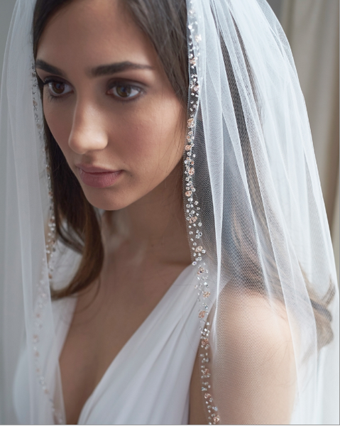 """The Kelsey"" Single Layer, Rose Gold Beaded Ivory Veil - Sweet Heart Details"