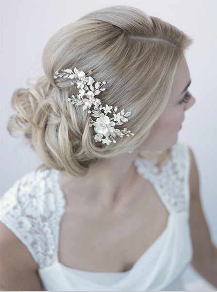 """The Christina"" Ivory & Floral Bridal Clip - Sweet Heart Details"