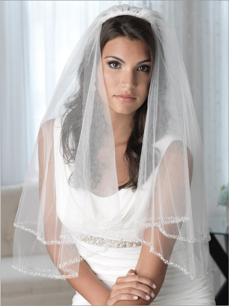 """The Mariah"" Pearl Beaded Edge Veil with Blusher-Veils-Dareth Colburn-Sweet Heart Details"