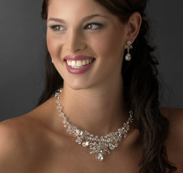"""The Elliot"" Dazzling Austrian Crystal & Bead Set-Jewelry Sets-Wedding Factory-NE 9786 Silver Clear-Sweet Heart Details"