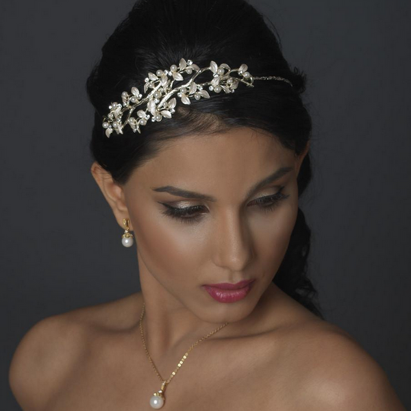 """The Janelle"" Pearl Vine Side Headband-Tiaras & Headbands-Wedding Factory-Sweet Heart Details"