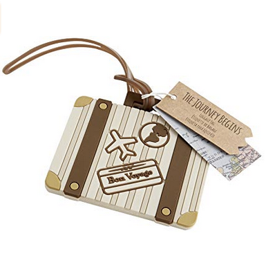 """Let the Journey Begin"" Vintage Suitcase Luggage Tags - Sweet Heart Details"