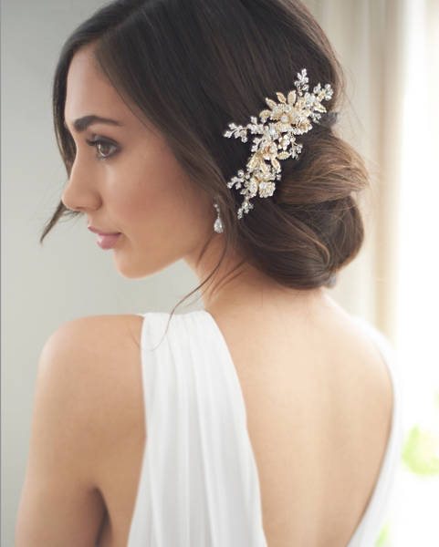 """The Rosalind"" Gold, Floral Bridal Hair Clip - Sweet Heart Details"