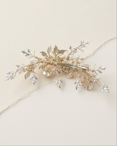 """The Rosalind"" Gold, Floral Bridal Hair Clip"