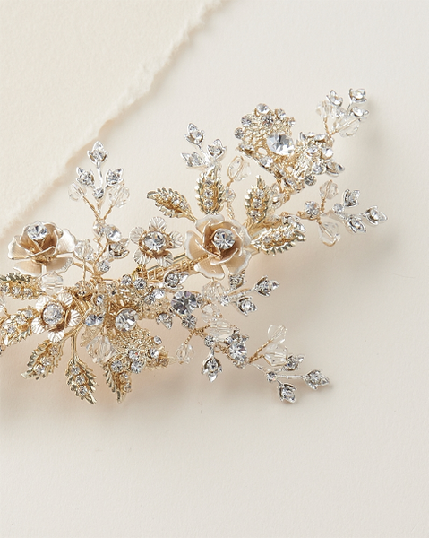 """The Rosalind"" Gold, Floral Bridal Hair Clip-Combs & Clips-Dareth Colburn-Sweet Heart Details"