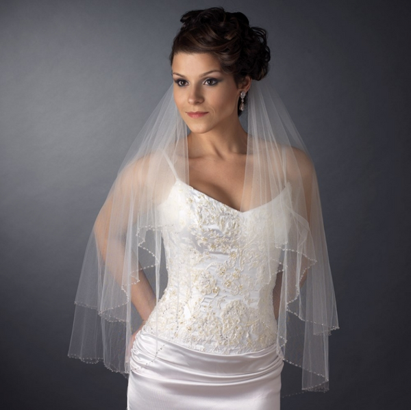 """The Ana"" Double Layer Fingertip Length Veil"