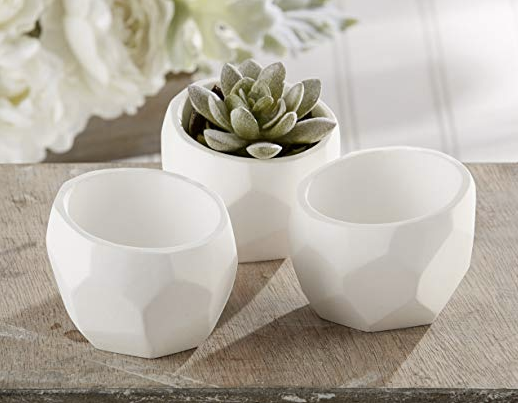 """Modern Garden"" Geometric White Planter (Sets of 4)"