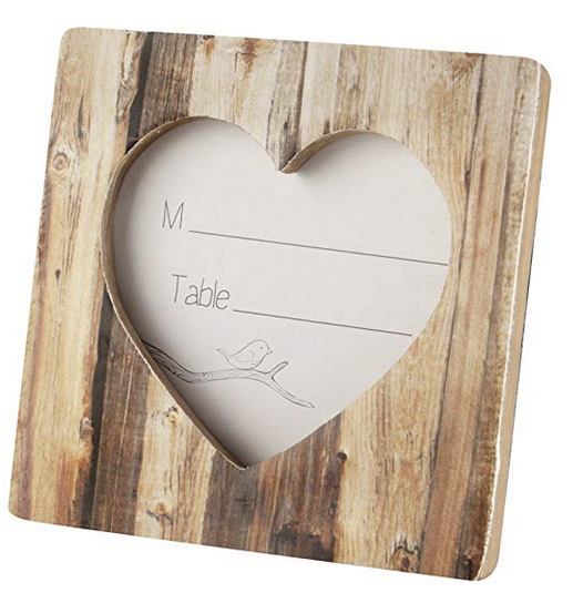 """Rustic Romance"" Faux-Wood Heart Card Holder Frames (24) - Sweet Heart Details"