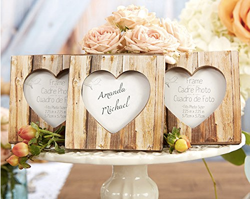 """Rustic Romance"" Faux-Wood Heart Card Holder Frames (24)-Placecard Holders-Kate Aspen-Sweet Heart Details"