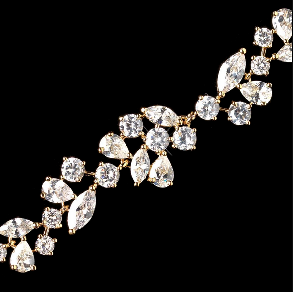 """The Madalyn"" CZ Crystal Bracelet-Bracelets-Wedding Factory-B-1278-G-CL-Sweet Heart Details"