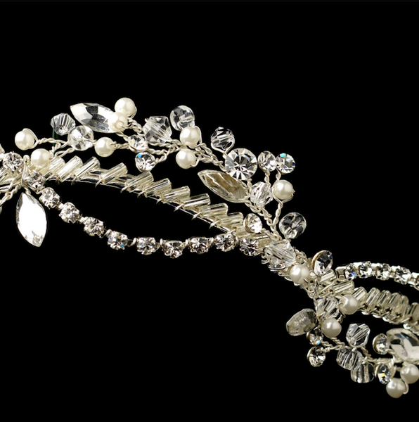 """The Tina"" Silver Woven Headband of Pearls Rhinestones Crystals - Sweet Heart Details"
