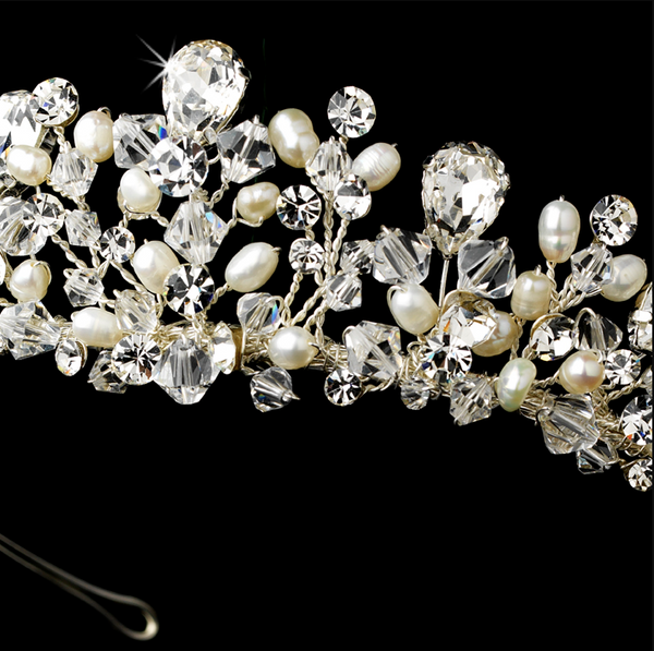 """The Valerie"" Silver Clear Crystal & Freshwater Pearl Headpiece - Sweet Heart Details"