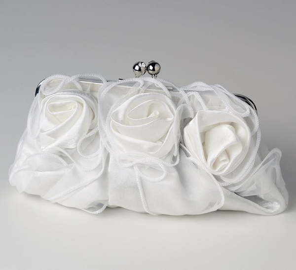 """The Tarra"" Satin Rose Evening Bag - Sweet Heart Details"