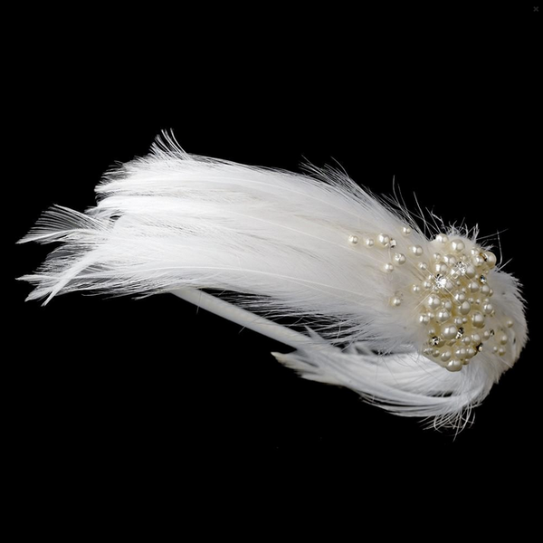 """The Teanna"" Feather & Pearl Headband-Tiaras & Headbands-Wedding Factory-HP-608 white-Sweet Heart Details"