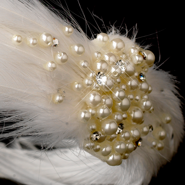 """The Teanna"" Feather & Pearl Headband - Sweet Heart Details"