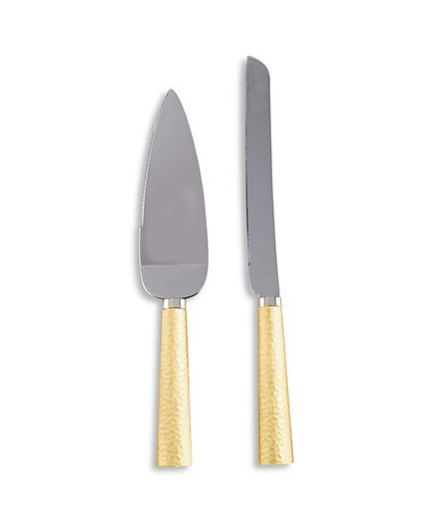 Wedding Cake Serving Set - Hammered Gold & Silver - Sweet Heart Details