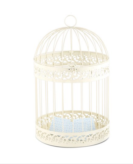 Classic Round Decorative Birdcage - Black or Ivory - Sweet Heart Details