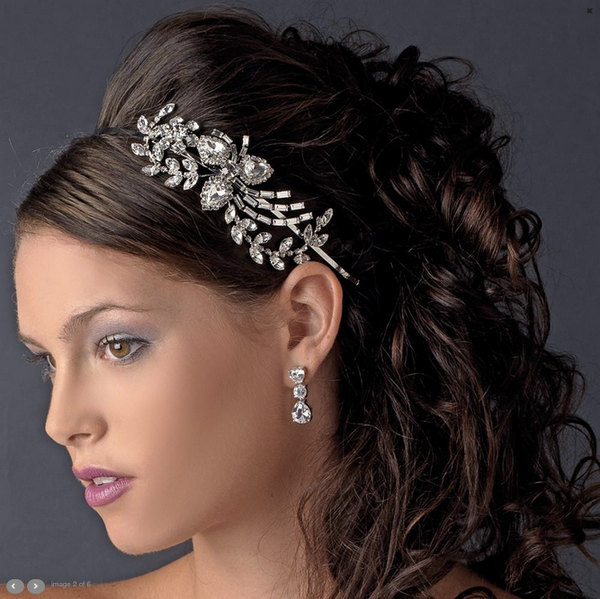 """The Abigail"" Crystal Detail Side Headband-Tiaras & Headbands-Wedding Factory-HP-9999-AS-CL-Sweet Heart Details"