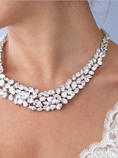 """The Azora"" Regal Marquise & Teardrop Cut Necklace - Sweet Heart Details"