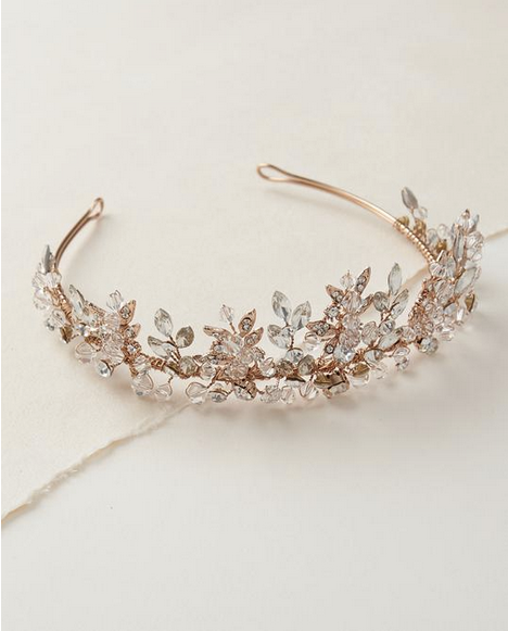 """The Rebecca"" Delicate Swarovski Crystal Crown-Tiaras & Headbands-Dareth Colburn-Sweet Heart Details"