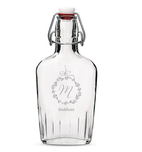 Vintage Inspired Clear Glass Hip Flask - Monogram Etching-Bridesmaid Gifts-Wedding Star-9858-P-1084-106-Sweet Heart Details