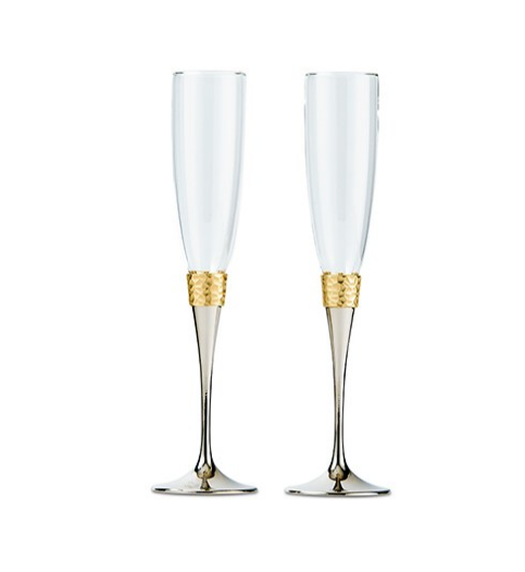 Wedding Champagne Toasting Flutes - Hammered Gold & Polished Silver Design - Sweet Heart Details